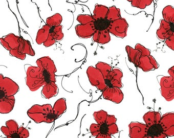 Loralie Designs Lady In Red White Poppies fabric - 1 yard