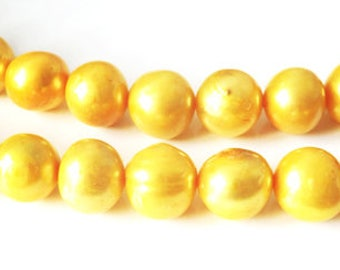 5 x 10-12 mm yellow freshwater pearls