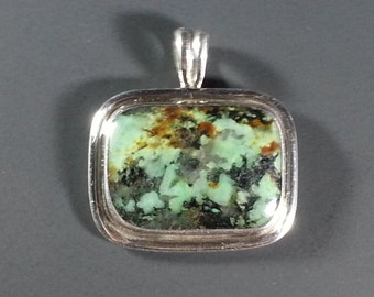 Beautiful African Turquoise and Sterling Silver Pendant