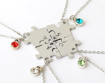 best friend necklace, Handstamped Jewelry, 4 Sisters Necklace, four broken Puzzle set, Customize Jewelry friendship necklace, Christmas gift