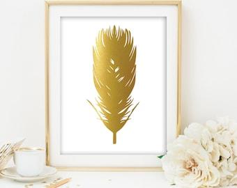 gold feather print gold feather printable feather art gold print gold printable gold printable art gold wall art gold foil art print