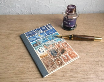 Decoupage Journal, Vacation Journal Notebook | Recycled Ruled A6 Writing Book | Blue Brown Postage Stamp Art | Bohemian World Travel Gift