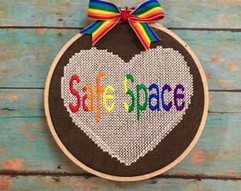 Safe Space sign, LGBTQ art, Ally wall hanging, LGBTQ students, Ally Teacher, office sign,  welcoming, safe zone, I am an Ally, protest art