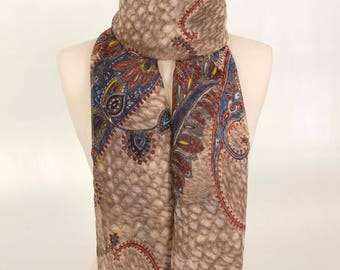 Beige Indian Scarf, Boho Scarf, Paisley Scarf, Gift for her, Best Scarf,Women Scarf, Girl Scarf, Soft Scarf, Fashion Scarf