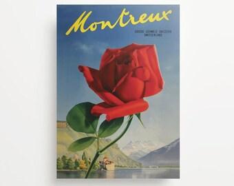Vintage Travel Poster Montreux Switzerland Giclée Print