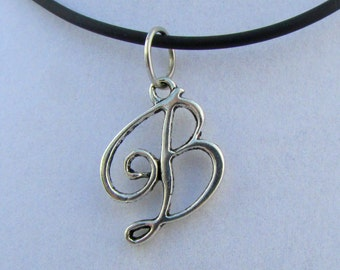 "Silver Monogram ""B"" 16"" Pendant Necklace (N139)"