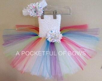 Rainbow Birthday Tutu Dress, Toddler Girls Rainbow Tutu Dress, Rainbow Daisy Headband