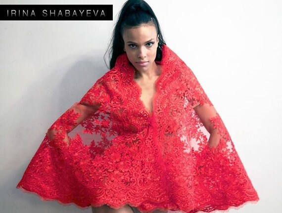 Irina Shabayeva red lace wrap
