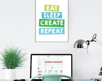 Modern Office Wall Art, Eat Sleep Repeat