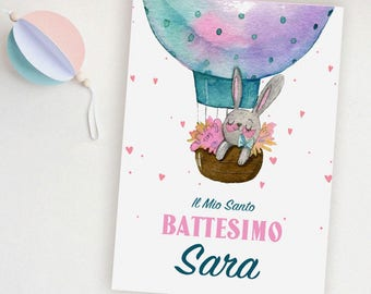 Invitation for Baby baptism with bunny and hot air balloon