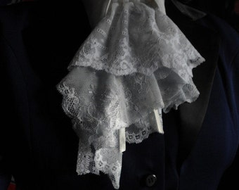 clear blue and white lace jabot