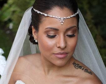Bridal Forehead Band ~ Bridal Headband ~ Rhinestone Hair ~ Swarovski Crystal Headpiece ~ Wedding Headband ~ Vintage Bridal ~Headpiece Heaven
