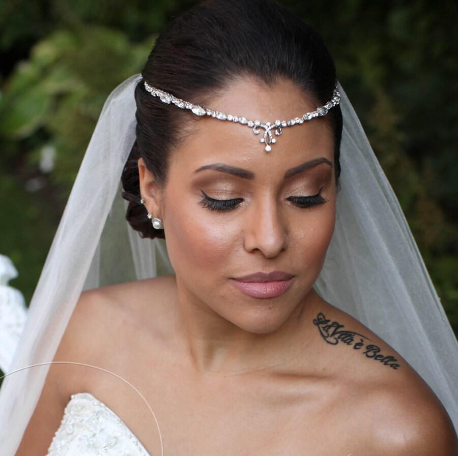 Wedding Hairstyles Headband: Bridal Forehead Band Bridal Headband Rhinestone Hair