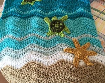 Sea Turtle crocheted Lovey- Sea Turtle crocheted Security Blanket
