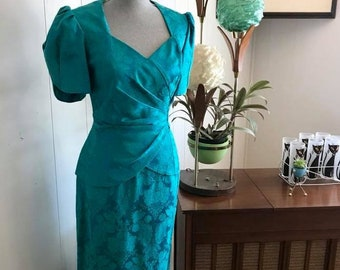 1980's PROM -- Vintage 1980's Teal Brocade Slim Fitting Formal -- Size M