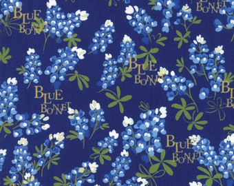 BLUEBONNET PATCH Texas Wildflowers on navy blue Moda fabric  by the yard quilt cotton  bluebonnets WORDS 33311-15