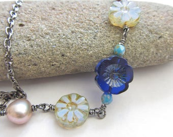 Blue Flower and Gold Pearl Boho Necklace, Cobalt Blue and Light Blue Flower, Bohemian Hippie Chick Necklace