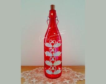 Bottle Lamp DIY Kit, Holographic Silver Swans, Wine Bottle Lamp, Unusual Gift, Craft Kit, Table Decor, Cordless LED Lights, Bottle Lamp