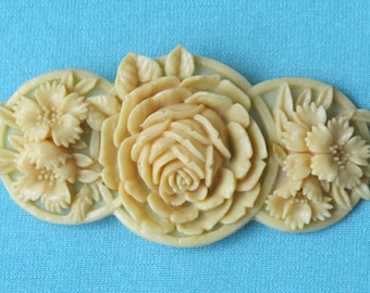 Brooch Pin Molded Cream Celluloid Intricate Detailed Rose & Corn Flowers Leaves Japan Vintage 1930's