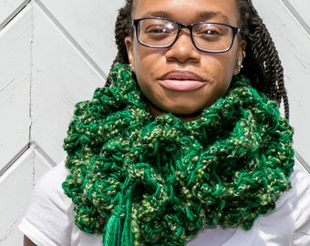 Kelly Emerald Green Fluffy Chunky Ruffled Long Scarf with Mixed Greens