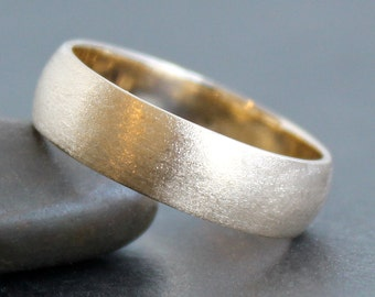 14K Solid Gold Ring - 6mm Simple Band - Classic Unisex Wedding Band (Size 4 - 12) - 6x1.5mm Half Round