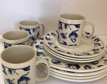 Vintage (11) PC Blue and Beige Coffee Cup Mug- Just Mugs England featuring Tea pots and cups