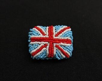 Vintage beaded British flag brooch