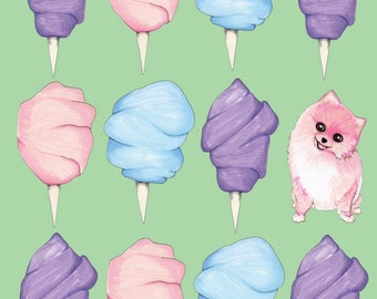 Cotton Candy Pomeranian Summer Print 11 x 14 inches // Dog Lover // Mother's Day Mom Father's Day Dad Hipster // // Quirky Funny Dog Art