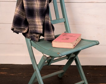 Antique Wooden Folding Chair - Slat Style Design - Vintage Turquoise Blue Color