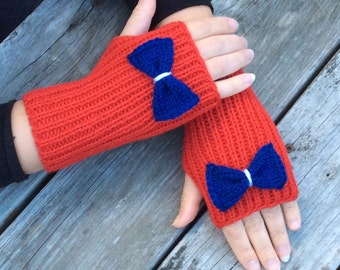 Clearance, Bow Fingerless Knit Gloves