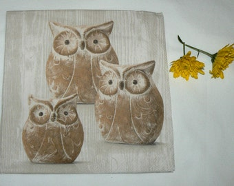2 Napkins  from Holland owls