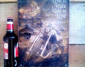 Dad Gift, Fathers Gift, Fathers Garaze Design, Harley Davidson, Motor Cycles, Beer Opener,  Drivers Harley, Bottle Opener, Bar Design