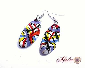 Colorful hippie earrings Dangle hippie earrings Colorful retro earrings Summer earrings Retro dangle earrings Hippie jewelry Retro jewelry