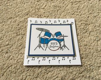 Handmade card - Drums and music