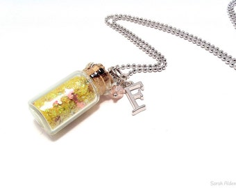Sparkle Necklace, Girls Monogram Necklace, Initial Necklace, Personalized Initial Necklace, Glitter Necklace, Glitter Bottle Pendant
