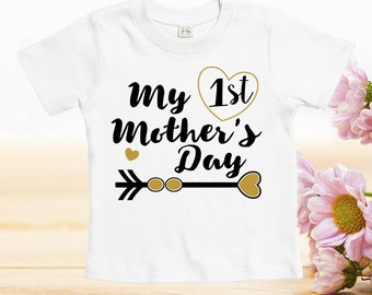 First mothers day tshirt, Mother's Day Tshirts, funny designs for baby, mother day gift, custom baby clothes, baby onesies, cute onesies