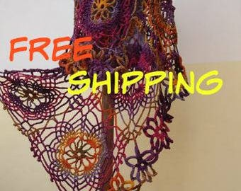 FREE SHIPPING!!! Colorful Crochet Lace Stole