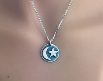 Star and Crescent Moon Pendant, Sterling Silver Pendant, Astrological Pendant,