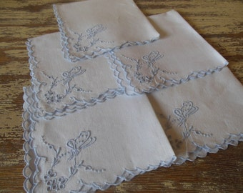 """Set of 5 Butterfly Napkins-Embroidered in Blue--""""Something Blue"""""""