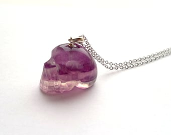Fluorite Skull Necklace Purple Fluorite Necklace Fluorite Jewelry Stone Skull Jewelry Stone Necklace Mineral Necklace Silver Fluorite Skull