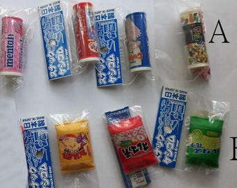 Snacks erasers Set 3/ 4 /Rubber, Iwako ,Japanese eraser , Novelty Stationery Gift, Best Friend Gift,  gomine,gommine