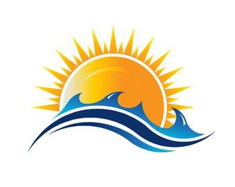 Business Logo to Print or Web. Summer Sun Logo, Sunshine Print, Sunrise Logo, Hope Concept, A New Day Beginning Logo Template, PDF, PNG