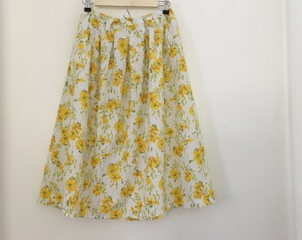 Yellow Floral Pleated Full Skirt with Pockets