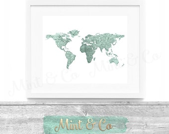 Golden globe gold foil world map printable wall art decor vintage world map in french printable wall art decor instant download digital print 8x10 mint living room office travel gumiabroncs Image collections