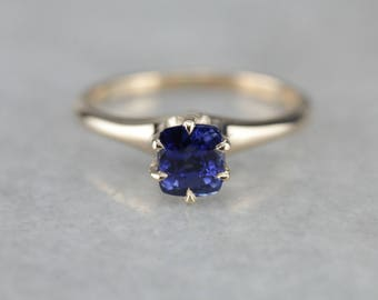 Gorgeous Royal Blue Sapphire Solitaire Ring, Antique Engagement Ring N8QUH2-N