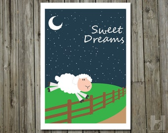 Sweet Dreams - 8.3x11.7 print - Counting Sheep - Nursery - Moon - Stars - White - Green - Blue