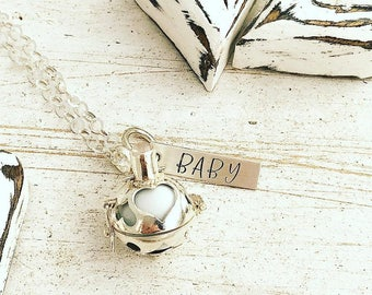Sterling Silver Harmony Ball Necklace - Pregnancy Ball - Heart - Hand Stamped Jewelry - Harmony Necklace Pregnancy Maternity Angel Caller