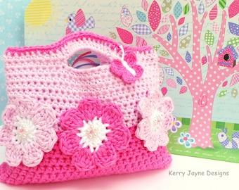 CROCHET Bag Pattern By KerryJayneDesigns Girls Crochet Bag pattern Girls tote pattern Childs bag pattern Girls crochet purse pattern Uk Pdf