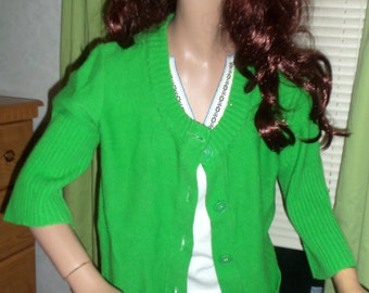 60s Kelly Green Long Mod Cardigan Sweater SM/MED