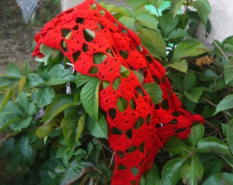 Red wool crocheted scarf
